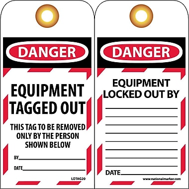 Lockout Tags, Lockout, Danger Equipment Tagged Out ..., 6