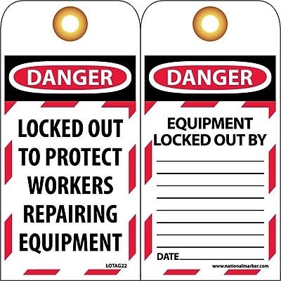 Lockout Lockout Tags, Lockout, Danger Locked Out To Protect Workers. . ., 6X3, Unrippable Vinyl