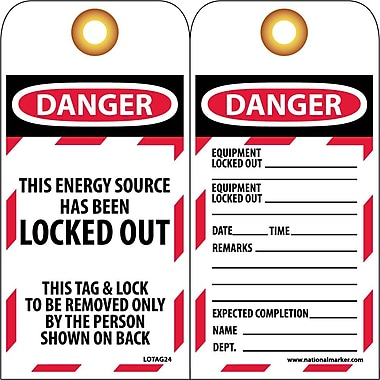Lockout Tags, Lockout, This Energy Source Has Been Locked Out, 6