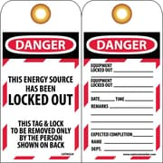 Lockout Lockout Tags, Lockout, This Energy Source Has Been Locked Out, 6X3, Unrippable Vinyl, 25/Pk