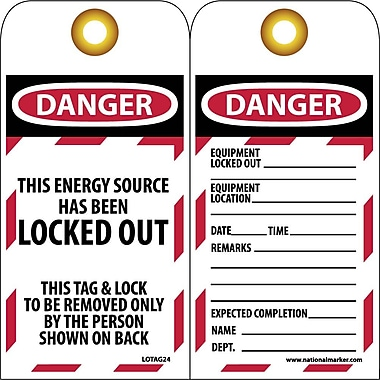 Lockout Tags, Lockout, Danger This Energy Source Has Been Locked Out, 10/Pack