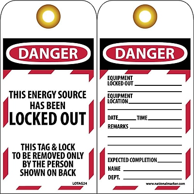 Lockout Lockout Tags, Lockout, Danger This Energy Source Has Been Locked Out