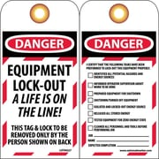 Lockout Lockout Tags, Lockout, Danger Equipment Lock-Out. . ., 6X3, Unrippable Vinyl
