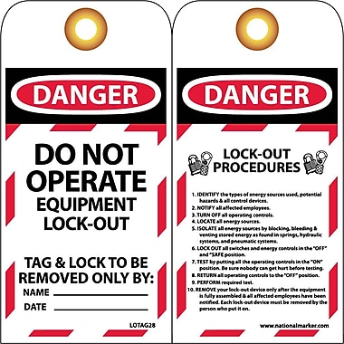 Lockout Tags, Lockout, Danger Do Not Operate..., 6