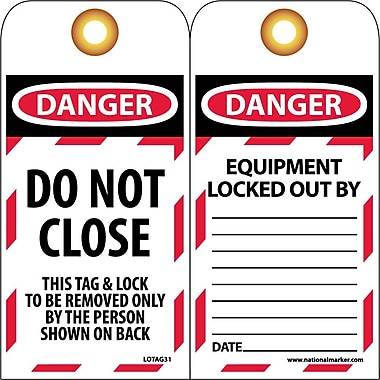 Lockout Tags, Lockout, Danger, Do Not Close, 6