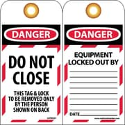 Lockout Lockout Tags, Lockout, Danger, Do Not Close, 6X3, Unrippable Vinyl, 10 Pk