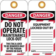 Lockout Lockout Tags, Lockout, Danger, Do Not Operate Maintenance Lock-Out, 6X3