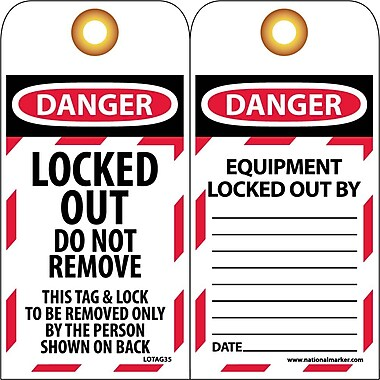Lockout Lockout Tags, Lockout, Danger, Locked Out Do Not Remove, 6X3, Unrippable Vinyl, 10 Pk