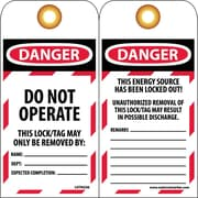 Tag, Danger, Do Not Operate, 6X3 1/4, Unrippable Vinyl, 25/Pk