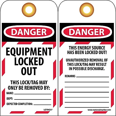 Tag, Danger, Equipment Locked Out, 6