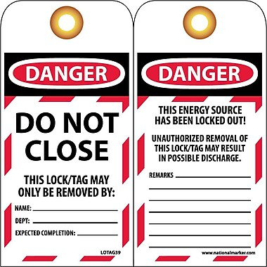 Lockout Tags, Do Not Close, 6