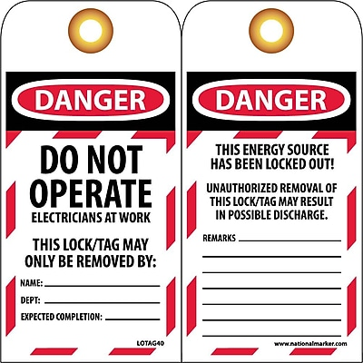 Lockout Lockout Tags, Do Not Operate Electricians At Work, 6X3, Unrippable Vinyl, 10/Pk
