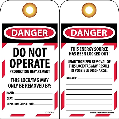 Lockout Tags, Do Not Operate Production Department, 6