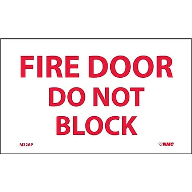 Labels -Fire Door Do Not Block, 3X5, Adhesive Vinyl, 5/Pk