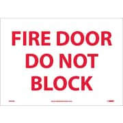 Fire Door Do Not Block, 10X14, Adhesive Vinyl