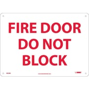 "Fire Door Do Not Block, 10"" x 14"", Rigid Plastic"