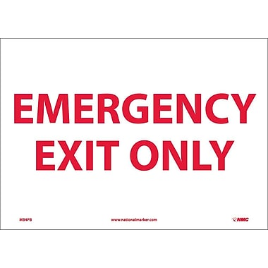 Emergency Exit Only, 10X14, Adhesive Vinyl