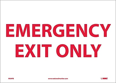 Emergency Exit Only, 10X14, Adhesive Vinyl