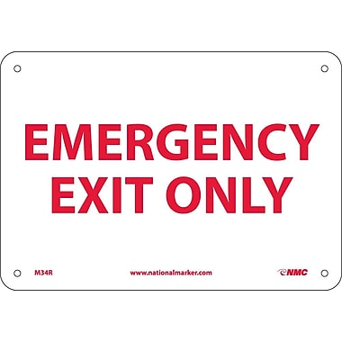 Emergency Exit Only, 7X10, Rigid Plastic