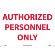 Authorized Personnel Only, 10X14, Rigid Plastic
