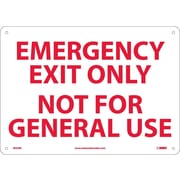 Emergency Exit Only Not For General Use, 10X14, Rigid Plastic