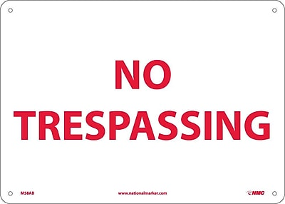 No Trespassing, 10X14, .040 Aluminum