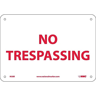 No Trespassing, 7X10, Rigid Plastic