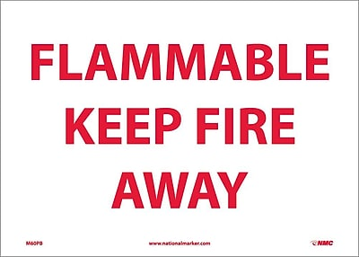 Flammable Keep Fire Away, 10X14, Adhesive Vinyl