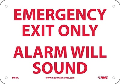 Emergency Exit Only Alarm Will Sound, 7X10, .040 Aluminum