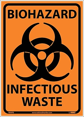 Biohazard Infectious Waste, 10X14, Adhesive Vinyl