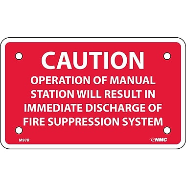 Caution Operation Of Manual Station Will Result In. . .,3X5, Rigid Plastic