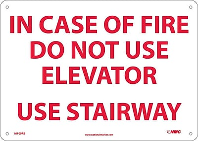 In Case Of Fire Do Not Use Elevator Use.., 10X14, Rigid Plastic