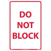 Do Not Block, Red On White, 18X12, Rigid Plastic