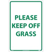 "Please Keep Off Grass, Green On White, 18"" x 12"", .040 Aluminum"