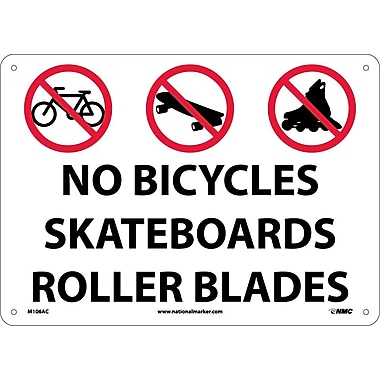 No Bicycles Skateboards Rollerblades, Graphic, 14X20, .040 Aluminum