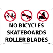 "No Bicycles Skateboards Rollerblades, Graphic, 14"" x 20"", Rigid Plastic"