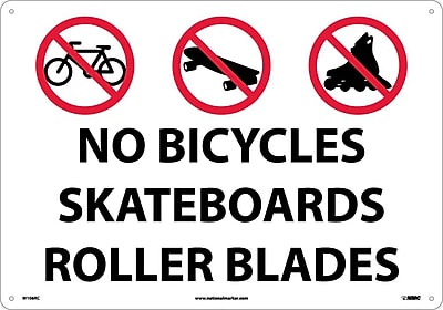 No Bicycles Skateboards Rollerblades, Graphic, 14X20, Rigid Plastic