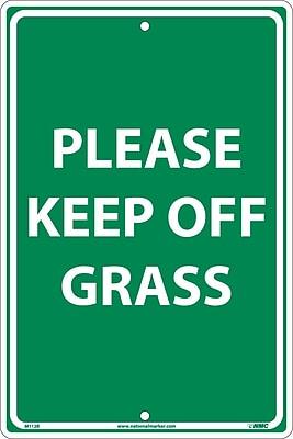 Please Keep Off Grass, White On Green, 18X12, Rigid Plastic
