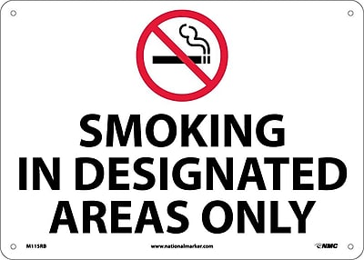 Smoking In Designated Areas Only, Graphic, 10X14, Rigid Plastic