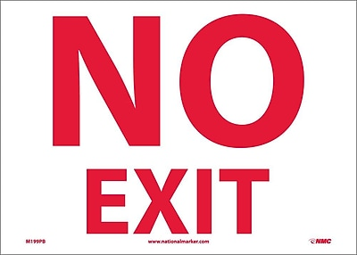 No Exit, 10X14, Adhesive Vinyl