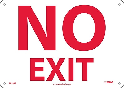 No Exit, 10X14, Rigid Plastic