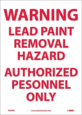 Warning Lead Paint Removal Hazard Authorized.., 14X10, Adhesive Vinyl