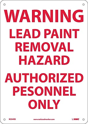 Warning Lead Paint Removal Hazard Authorized.., 14X10, Rigid Plastic