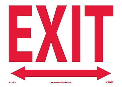 Exit With Double Arrow, 10X14, Adhesive Vinyl