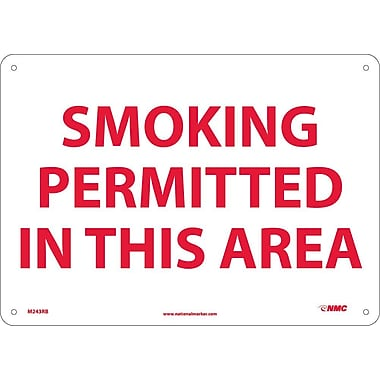 Smoking Permitted In This Area, 10X14, Rigid Plastic