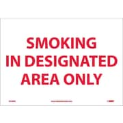 Smoking In Designated Area Only, 10X14, Adhesive Vinyl