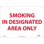 Smoking In Designated Area Only, 10X14, Rigid Plastic