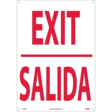 Exit (Bilingual), 20X14, Rigid Plastic