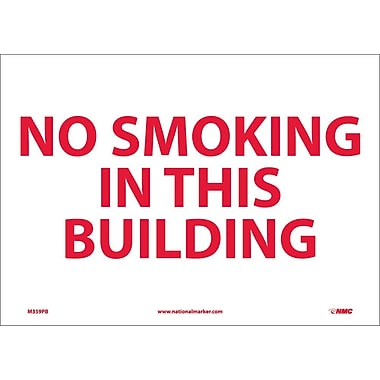 Panneau No Smoking In This Building, 10 x 14 po, vinyle adhésif