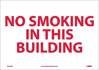 No Smoking In This Building, 10X14, Adhesive Vinyl